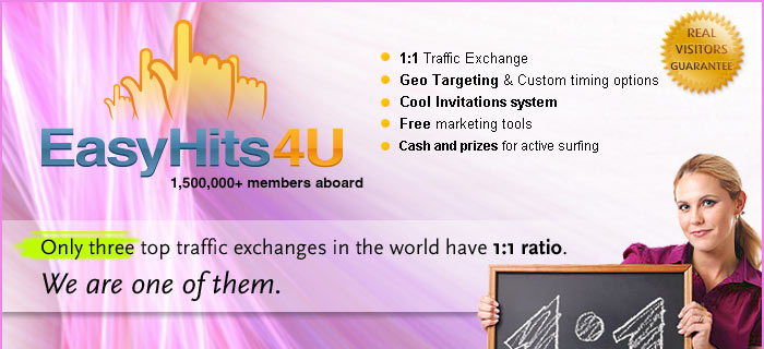Only three top traffic exchanges in the world have 1:1 ratio. We are one of them.