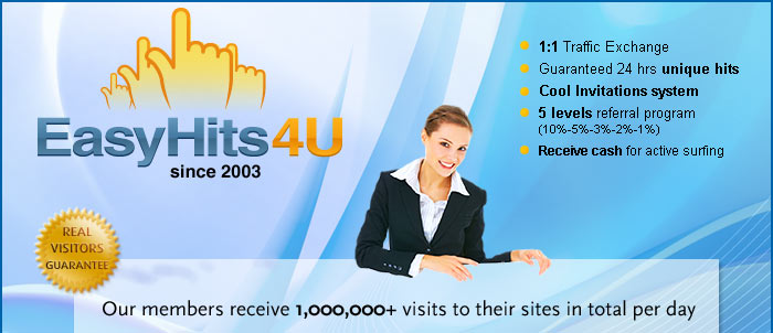 Our members receive 1,000,000+ visits to their sites in total per day. Get part of this traffic for FREE!
