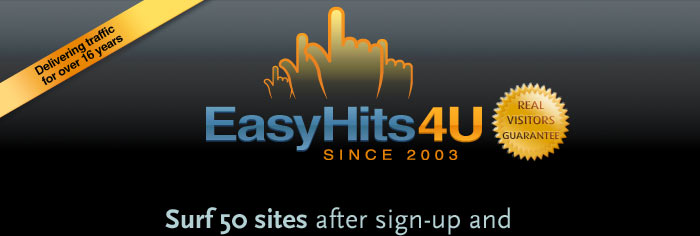 Surf 50 sites after sign-up and receive 100 visitors to your site for FREE