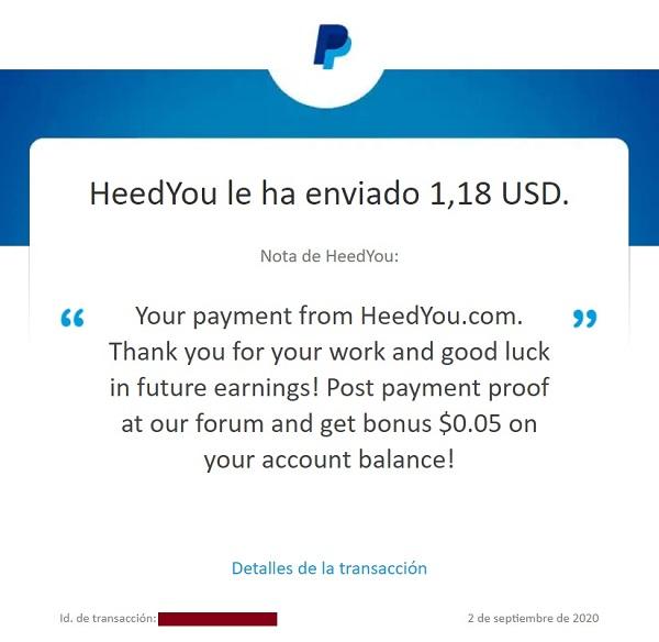 HEEDYOU: recibido 2º Pago ($1,03) 87813